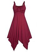 baratos Cintos de Moda-Mulheres Festa / Praia balanço Vestido Sólido Com Alças Assimétrico