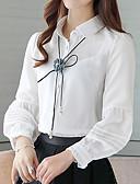 baratos Suéteres de Mulher-Mulheres Blusa - Para Noite / Trabalho Luva Lantern Sólido Colarinho de Camisa / Primavera / Verão