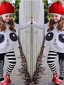 halpa Tyttöjen vaatteet-Tyttöjen Vaatesetti Puuvilla Polyesteri Spandex Kevät Syksy Pitkähihainen Cartoon Eläinkuvionti Valkoinen