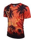 cheap Men's Underwear & Socks-Men's Sports Boho / Street chic / Punk & Gothic Slim T-shirt - Plants Tropical Leaf, Print V Neck / Short Sleeve
