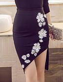 baratos Saias Femininas-Mulheres Tamanhos Grandes Moda de Rua Trabalho Bodycon Saias - Floral Com Miçangas / Bordado