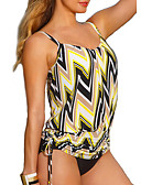 זול 2017ביקיני ובגדי ים-צהוב בלוק צבע בגדי ים טנקיני רצועות בד קולור בלוק נשים