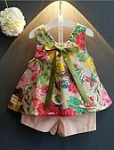 preiswerte Kleidersets für Mädchen-Mädchen Kleidungs Set Alltag Baumwolle Kunstseide Sommer Ärmellos Blumig Rosa