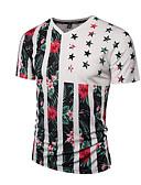 baratos Camisetas & Regatas Masculinas-Homens Camiseta - Esportes Boho / Moda de Rua / Punk & Góticas Estampado, Listrado / Floral Decote V Delgado / Manga Curta