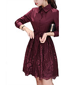 baratos Vestidos de Mulher-Mulheres Feriado / Para Noite Casual / Moda de Rua / Sofisticado Solto / Bainha / Rendas Vestido Sólido Colarinho de Camisa Altura dos Joelhos