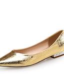 billige Trendy klokker-Dame Sko Lær / PU Komfort / Original Flate sko Flat hæl Spisstå Gull / Sølv / Fest / aften