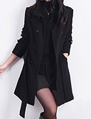 cheap Women's Coats & Trench Coats-Women's Work Street chic Wool Trench Coat-Solid Colored Stand