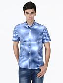 abordables Camisas de Hombre-Hombre Algodón Camisa Cuadrícula