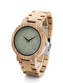 abordables Relojes de Hombre-Mujer Reloj de Moda / Reloj Madera / Madera Banda Casual Caqui