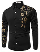 cheap Men's Tees & Tank Tops-Men's Cotton Slim Shirt - Floral Classic Collar / Long Sleeve