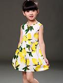 abordables Vestidos de Niña-Bebé Chica Floral Playa Estampado Sin Mangas Algodón Vestido Azul Piscina