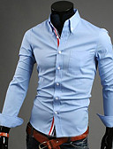 cheap Men's Shirts-Men's Plus Size Cotton Shirt - Solid Colored Basic Button Down Collar / Long Sleeve
