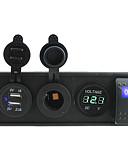 abordables Tops de Mujeres-CC 12V / 24V LED de encendido del voltímetro tomas de puertos USB 3.1a con cables de puente de interruptores de balancín y titular de la