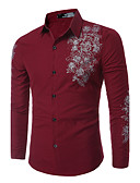 cheap Men's Shirts-Men's Street chic Slim Shirt Print Classic Collar / Long Sleeve