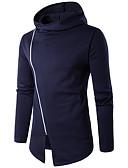 povoljno Muške majice s kapuljačom i trenirke-Muškarci Dugih rukava Hoodie Jednobojni Okrugli izrez