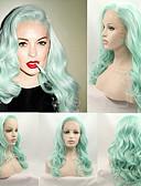 رخيصةأون ساعات رجالية-الاصطناعية الباروكات مموج شعر مستعار صناعي شعري طبيعي أخضر شعر مستعار للمرأة متوسط دون غطاء أخضر