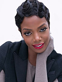 ieftine Quartz-Peruci Sintetice Pentru femei Ondulat Negru Păr Sintetic Perucă Americană Africană Negru Perucă Scurt Fără calotă Negru Jet