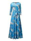 baratos Vestidos Longos-Mulheres Praia Vintage Casual Boho balanço Vestido - Laço Franzido, Floral Longo