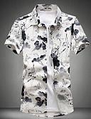 זול חולצות לגברים-דפוס פשוט כותנה, חולצה - בגדי ריקוד גברים / שרוולים קצרים