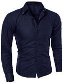 billige Herreskjorter-Bomull Tynn Spredt krage Store størrelser Skjorte Herre - Ensfarget, Grunnleggende / Langermet