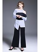 cheap Women's Pants & Leggings-Women's Going out / Work Street chic Shirt - Color Block Shirt Collar
