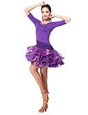 hesapli Latin Dans Giysileri-Latin Dansı Elbiseler Kadın's Eğitim Włókno mleczne 3/4 Kol Doğal Elbise / Şort