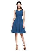 Χαμηλού Κόστους Φορέματα Παρανύμφων-Γραμμή Α Με Κόσμημα Μέχρι το γόνατο Σιφόν Φόρεμα Παρανύμφων με Χιαστί με LAN TING BRIDE®