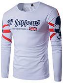 cheap Men's Tees & Tank Tops-Men's Sports Active Plus Size Cotton / Linen T-shirt - Letter Print Round Neck / Long Sleeve