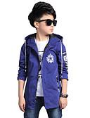 preiswerte Jacken & Mäntel für Jungen-Kinder Jungen Blumig Alltag Druck Langarm Standard Polyester Trenchcoat Blau