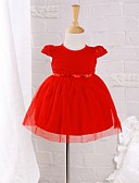 cheap Girls' Clothing-Baby Girls' Lace Daily Solid Colored / Embroidered Short Sleeve Cotton / Nylon Dress Red 9-12 Months(80cm)