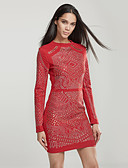 cheap Women's Dresses-Women's Street chic Skinny Bodycon Dress - Solid Colored Beaded Mini / Spring / Fall / Sequin