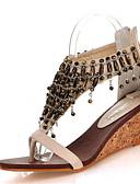 זול חלוקים & Sleepwear-בגדי ריקוד נשים נעליים דמוי עור קיץ נעלי מועדון סנדלים עקב טריז פתוח בבוהן רוכסן / שרשרת / פרנזים שחור / שקד / נעלי עקב