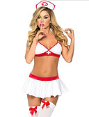 cheap Panties-Nurse Cosplay Costume Women's Halloween / Carnival / New Year Festival / Holiday Halloween Costumes White Solid Colored