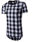 cheap Men's Tees & Tank Tops-Men's Sports Cotton T-shirt - Solid Colored / Plaid Round Neck / Short Sleeve / Long