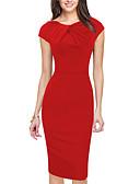 hesapli Nedime Elbiseleri-Kadın's Büyük Bedenler Dışarı Çıkma Sokak Şıklığı Kılıf Elbise - Solid, Dantelli Diz-boyu Kırmızı / İnce