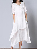cheap Women's Dresses-Women's Plus Size Cotton Loose Dress - Solid Colored White, Layered V Neck / Summer