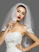 cheap Wedding Veils-Two-tier Lace Applique Edge Wedding Veil Blusher Veils / Elbow Veils 53 Appliques Lace / Tulle / Classic