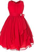 tanie Sukienki dla dziewczynek-Dzieci Dla dziewczynek Zabytkowe Impreza Jendolity kolor Kokarda / Falbany Bez rękawów Sukienka / Bawełna