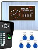 baratos Camisetas & Regatas Masculinas-gravação hd kit sistema de telefone da porta de vídeo reconhecimento de impressões digitais intercom 7 lcd 1000tvl DVR