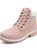 cheap Women's T-shirts-Women's Shoes PU(Polyurethane) Fall / Winter Novelty / Fashion Boots / Combat Boots Boots Walking Shoes Low Heel Round Toe Lace-up Green / Pink / Rainbow