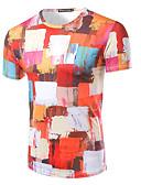 billige T-skjorter og singleter til herrer-Bomull Rund hals T-skjorte Herre Trykt mønster Aktiv Sport / Kortermet