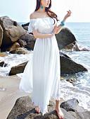 hesapli Maksi Elbiseler-Kadın's Kumsal / Tatil Boho Şifon Elbise - Solid, Fırfırlı Kayık Yaka Maksi Yüksek Bel Beyaz