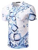 זול טישרטים לגופיות לגברים-גיאומטרי צווארון עגול רזה בסיסי חוף טישרט - בגדי ריקוד גברים דפוס פול / שרוולים קצרים / קיץ