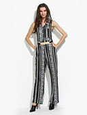 cheap Women's Jumpsuits & Rompers-Women's Club Street chic Jumpsuit - Geometric, Jacquard High Rise Wide Leg Stand