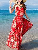 baratos Vestidos de Mulher-Mulheres Praia Feriado Seda Tubinho Vestido - Estampado Decote U Longo