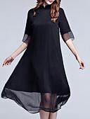 baratos Vestidos de Mulher-Mulheres Tamanhos Grandes Para Noite balanço Vestido Sólido Colarinho Chinês Médio Preto