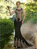 preiswerte Abendkleider-Trompete / Meerjungfrau Illusionsausschnitt Pinsel Schleppe Elasthan Formeller Abend Kleid mit Kristall Verzierung durch TS Couture®