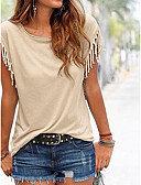 cheap Women's Shirts-Women's Butterfly Sleeves Cotton T-shirt - Solid Colored Tassel / Summer
