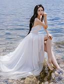 hesapli Maksi Elbiseler-Kadın's Tatil Şık & Modern Çan Elbise - Tek Renk Askılı Maksi / Yaz / Arkasız