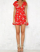 cheap Women's Dresses-Women's Going out Street chic Cotton Loose / Shift Dress - Floral Red, Lace / Cut Out Deep V